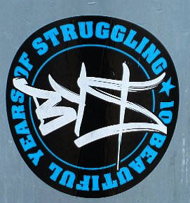 BYS graffiti crew. the kings of zurich graffiti crews. anniversary sticker '10 beautiful years of struggling'